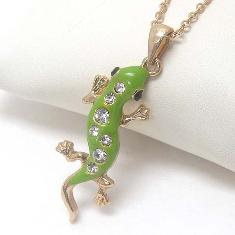 Fashion Costume Jewelry Mix Color Animal Crystal Rhinestone Lizard Pendant Necklace xy028