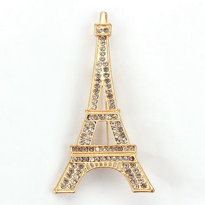 Crystal Eiffel Tower Brooch Costume Jewelry in Gold and Silver Colors