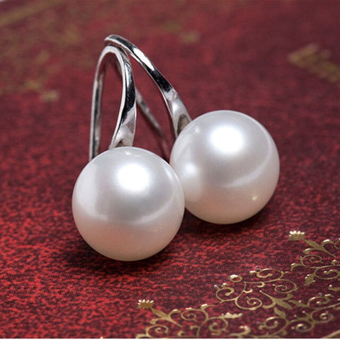 Classic Silver Color Hook Simulated-pearl Earrings for Women Wedding Party Drop Earrings Fashion Costume Indian Jewelry brincos
