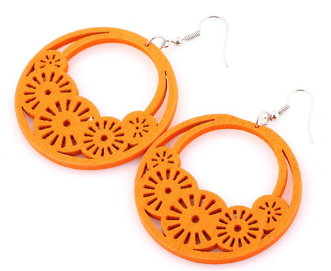 Colorful Round Wooden Earrings