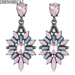 Colorful Flower Big Luxury Drop Earring Pendant Crystal Gem Statement Earrings