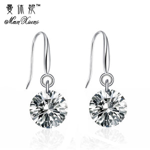 Manxiuni Brand Delicate AAA+ Round Cubic Zircon Handmade Costume jewelry earrings boucle d'oreille femme