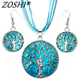 Vintage Round Life Tree Silver Pendant Necklace Earring Sets Wedding Multilayer Leather Choker Necklace Costume Jewelry Set