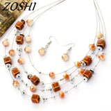 Fashion Jewelry Sets Bohemian Crystal Beads Silver Plated Multi layer Necklace Earrings Set Wedding Parure Bijoux Femme Costume