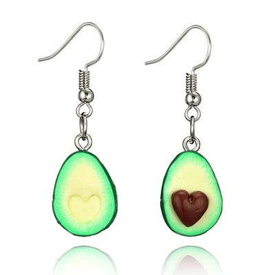 docona Green Color Cute Avocado Drop Earring for Women Girl Cartoon Fruit Piercing Pendant Earring Statement Jewelry 6045