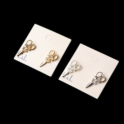 Small Simple Gold and Silver plated scissor Stud earrings