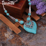 Tenande Maxi Big Statement Natural Stone Beads Cones Double Layer Hearts Necklaces & Pendants for Women Bohemian Jewelry