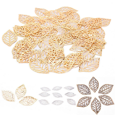 50Pcs Leaves Filigree Metal Crafts Jewelry DIY Accessories Pendant Chinese Costume Bride Coronet Metal Leaves