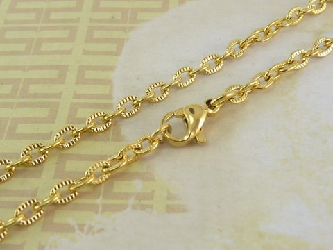 Gold Stainless Steel Necklace 500mm