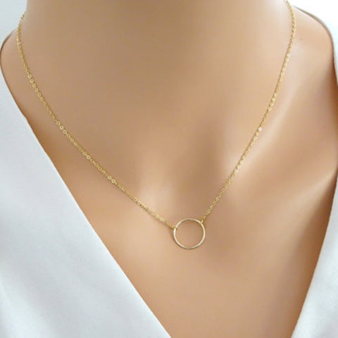Women's Fashion Minimalist Simple Circle Pendants Chains Necklace   ND302