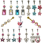 1pc Surgical steel Charming Dangling Flower Star Heart  Navel Bar Belly Button Rings Piercing For Women Navel Body Jewelry 14g