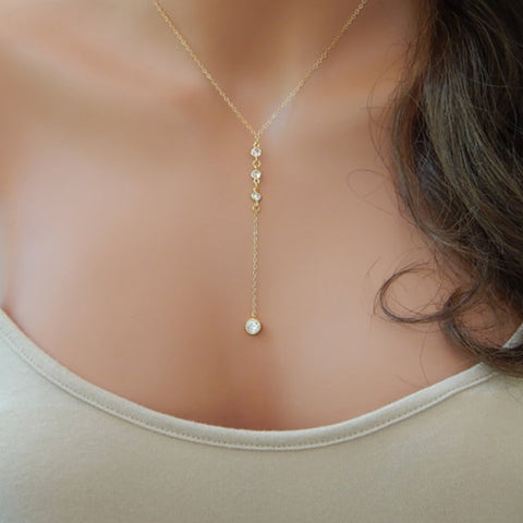 Gold CZ Lariat Necklace, Gold Y Necklace, Wedding Lariat Necklace XL204