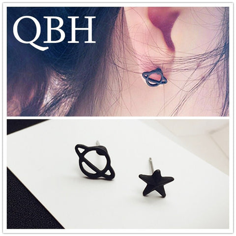 EK980 Simple Brincos Asymmetric Small Earing Mini Black Planet Star Stud Earrings For Women Wedding Jewelry