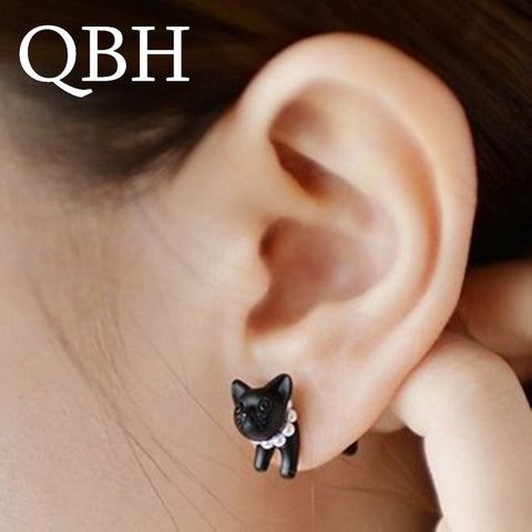 EK769 Hot Sale Brincos Cute Imitation Pearl 3D Kitty Black Cat Stud Earrings For Women Jewelry For Women Jewelry Gift Pendientes