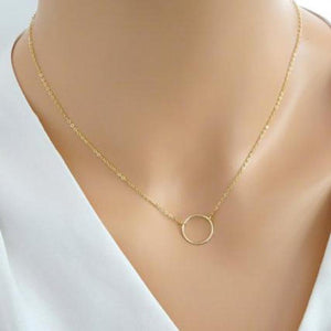 Gold Chain Necklace For Women Round Delicate Minimalist Tiny Circle Necklaces Pendant Simple Jewelry Kolye Bijoux Femme
