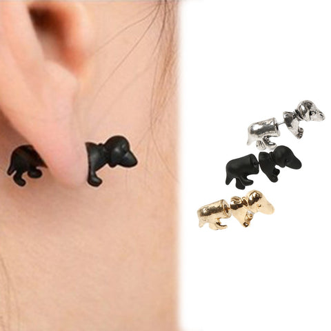1piece Punk Rock Trendy Cool Dachshund Dog Impalement Unisex Ear Stud Party Earrings