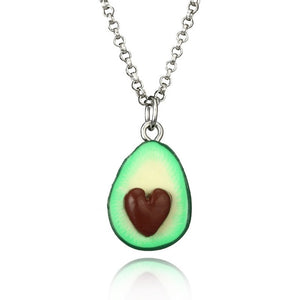 Fashion Fruit Necklaces For Women men Jewelry Black White Couple Necklace Soft Pottery Avocado Necklaces Pendants Best Gift