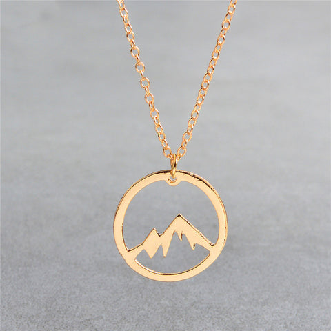 QIHE JEWELRY Mountain necklace World map necklace Mountain range jewelry Nature Hiker climbing lover gifts Minimalist Jewelry
