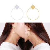 LNRRABC Simple Design Round Earrings Women Party Sexy Geometric Rhombus Costume Fashion Earring Jewelry