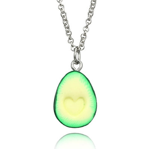 OATHYAN Newest Fashion Fruit Avocado Pendants Heart Long Chain Necklaces For Women Lovers' Best Friend Necklace Gifts Jewelry
