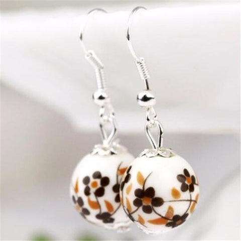 Chinese style handmade ceramic jewelry national wind porcelain beads earrings bridal earrings transporter