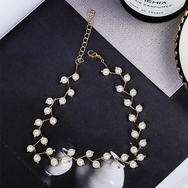 2018 Korean Jewelry Fashion Simple Short Necklace Pearl Necklace Steampunk Necklace Women Statement Necklace