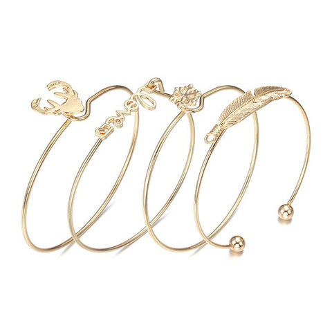 NS38 Vintage Gold Color Tie Knot Bracelet Bangles Simple Twist Cuff Open Bangles For Women Indian Jewelry Costume Jewelry