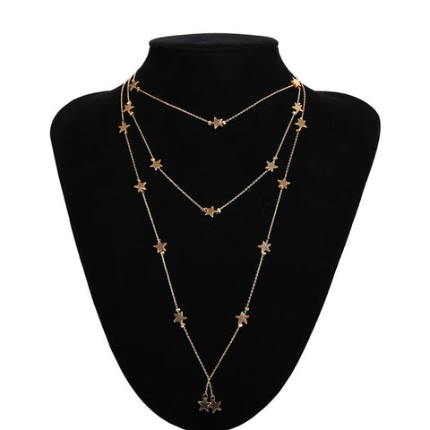 IngeSight.Z Vintage Star Multilayer Long Chain Pendant Choker Necklace for Women Bohemian Necklace Fashion Summer Beach Jewelry