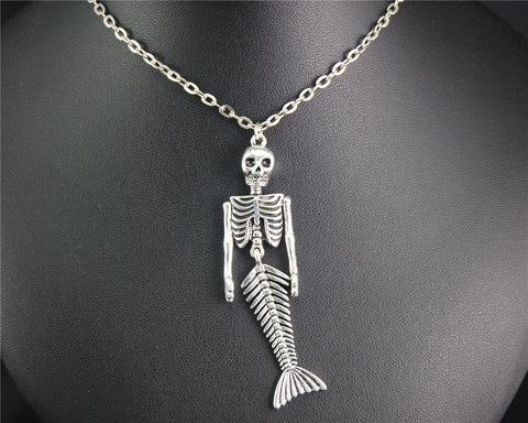1pc Mermaid Skeleton Metal Alloy Pendant Halloween Necklace Steampunk DIY Handmade Jewelry Gift For Women E638