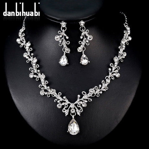danbihuabi 2018 Elegant Bridal Wedding Jewelry Sets White K Crystal Water Drop Necklace Earrings Costume Jewelry Sets for Women