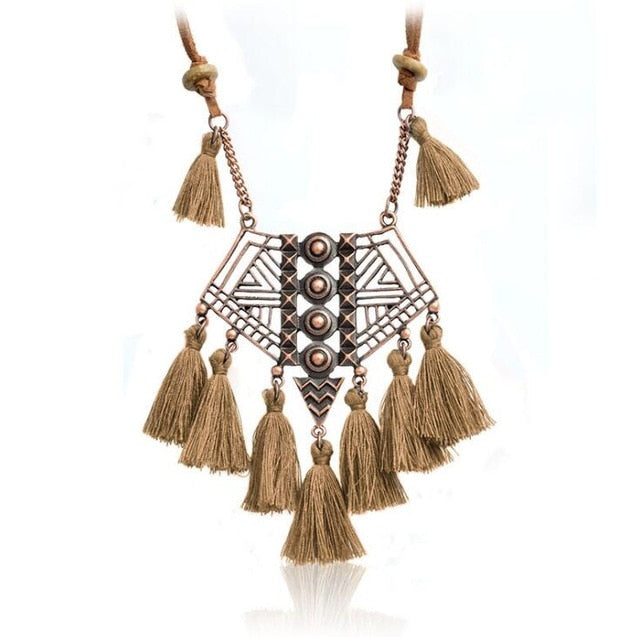 DIEZI Bohemian Geometry Wool Tassels Pendant Necklace 7 Colors Pink Ethnic Sweater Chain Fringed Chokers Necklace Jewelry