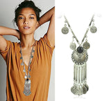 New Brand Fashion Vintage Boho Antique Coin Necklace for Women Statement Long Tassel Necklaces Bohemian Maxi Jewelry XY-N54