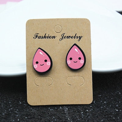 New Designs Animal Rabbit Monkey Fruit Month Small Acrylic Stud Earrings For Women Night Club Punk Jewelry Accessories e098