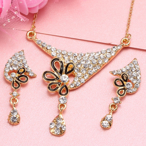 Flower Jewellery Bridal Jewelry Sets Rhinestone Party Wedding Costume Accessories Golden Plated Chain Necklace Earring Set Women