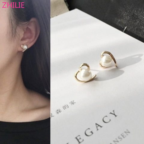 Korean Fashion Jewelry Peach heart Love pearl simple smooth Female Earrings