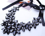 Fashion European Big Rhinestone Crystal Flowers Pendants Choker Necklaces Black Ribbon Chain Statement Bib Necklaces For Women