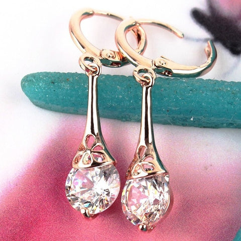 Fashion CZ Crystal Earrings for Women Wedding Party Costume Indian Jewelry Gold Color Hollow Flower Round Drop Earrings Gift
