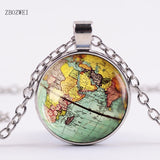 2018Hot! Arrived DIY Globe Dome Necklace Earth World Map Pendant Glass Chain Jewelry New York Map Handmade Necklace