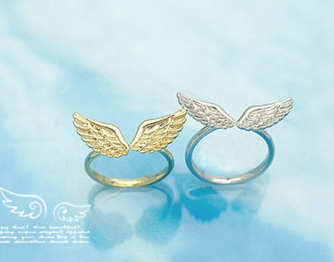 Silver/Gold Shiny Angel Wings Ring