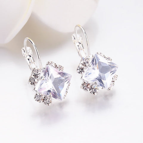 Fashion 2018 Stone Rhinestones girls White Square Crystal Drop Earrings For Women Statement Wedding Jewelry Pendientes Mujer