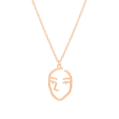 Gold/Silver Chain Trendy Temperament Abstract Human Face Pendant Necklace Hollow Facial Contour Long Necklace Avatar Aaszyjnik