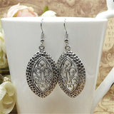 Lusion Jewelry Vintage Tibetan Sliver carving Drop Earring For Woman Retro Long Earrings