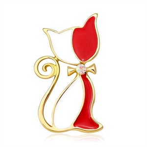 Fashion Red Black Cat Bowknot Crystal Rhinestone Brooches Pins Vintage Silver Gold Style Women Costume Jewelry Party Gift