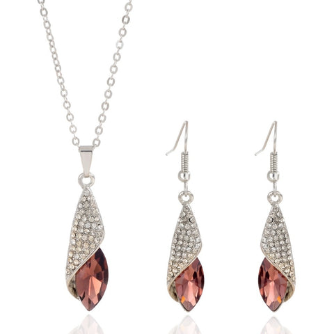 Women Jewelry Set Silver Plated Fashion Necklace Earring Aapphire Burgundy Crystal African Costume Woman Wedding Accessories
