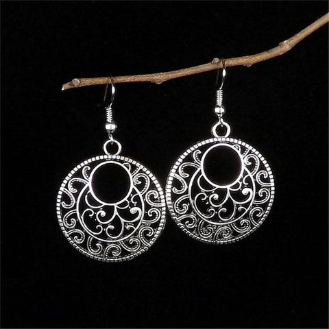 Lusion Jewelry Bohemian Vintage Ethnic Tibetan Silver Long Big Hollow Round Drop Earring Carved Flowers dangle Earrings Women