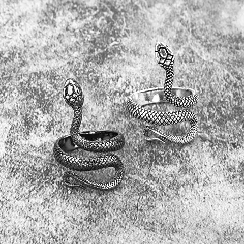 1 Piece European New Retro Punk Exaggerated Spirit Snake Ring Fashion Personality Stereoscopic Opening Adjustable Ring R158-3