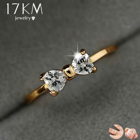 17KM Fashion Austria Crystal Rings Gold Color Finger Bow Ring Wedding Engagement Cubic Zirconia Rings For Women