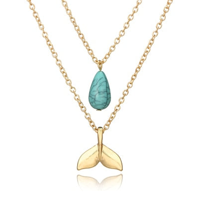 docona Mermaid Necklace for Women Layered Gold Necklace Blue Stone Mermaid Tail Pendant Necklaces Party Jewelry 6618