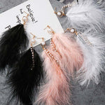 Japan Korean Fashion Sweet Feather Drop Earrings Simulated Pearls Tassel Rhinestone Chains Long Dangle Earring for Women Jewelry