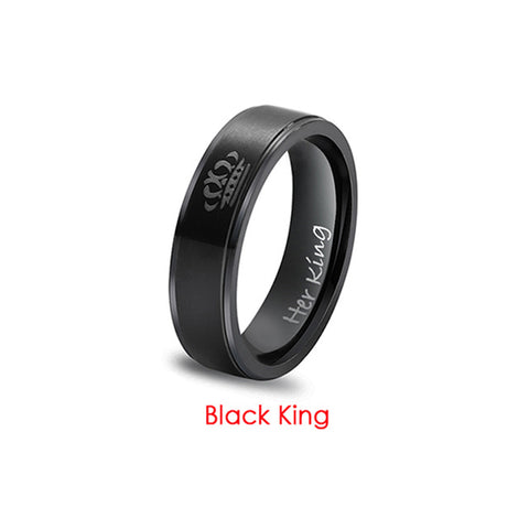 Her King His Queen Crown Wedding Titanium Ring For Women Silver Black Rings For Men Engagement Ring Lover Couples Jewelry